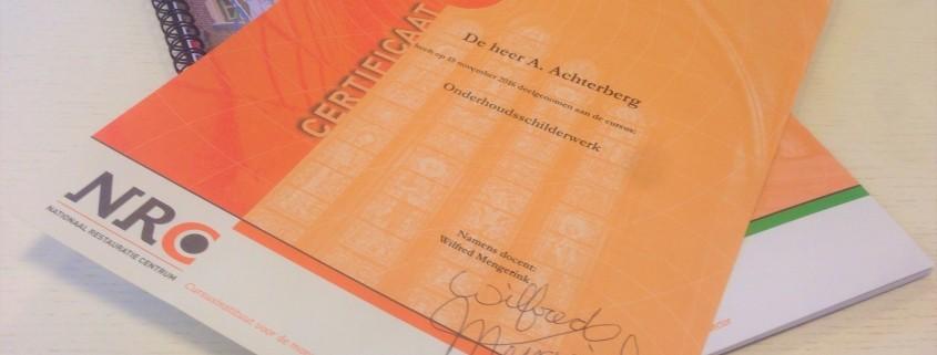 Certificaat onderhoudsschilderwerk monumentenzorg Achterberg